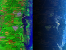 This pair of images shows a standard view of farmland near the Chesapeake Bay (left) and a polarized image of the same scene (right). The polarized image has less glare and a dull tone that makes it easier for researchers to detect small aerosols. Credit: NASA GISS/Brain Cairns