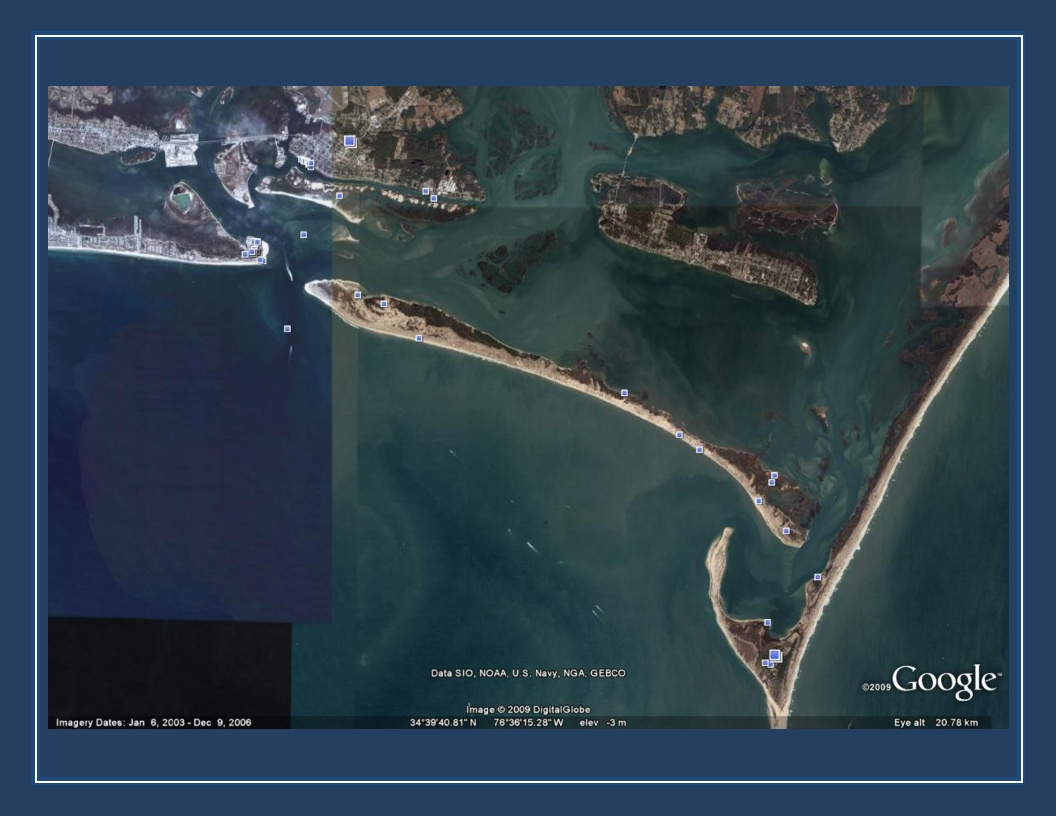 Google Earth view -- Pivers Island to Cape Lookout
